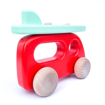 Treleker Miljøvennlige Norskeleker.no Barn leker kvalitet campervan bil, trebil, rød bil, surfebrett, bajo, norskeleker.no